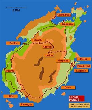 De interactieve kaart van Paros