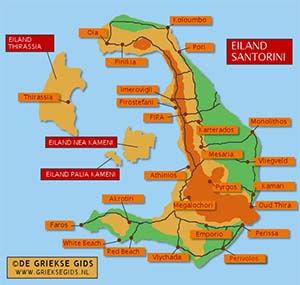 De interactieve kaart van Santorini