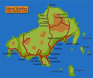 De interactieve kaart van Skiathos