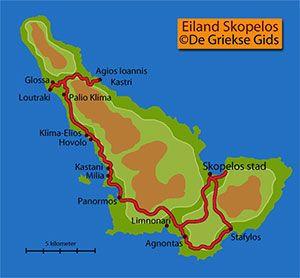 De interactieve kaart van Skopelos