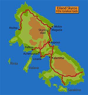 De interactieve kaart van Skyros