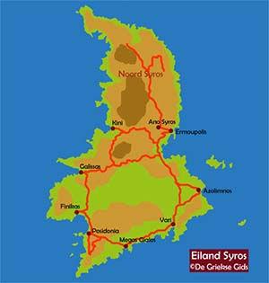 De interactieve kaart van Syros