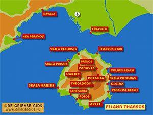De interactieve kaart van Thassos