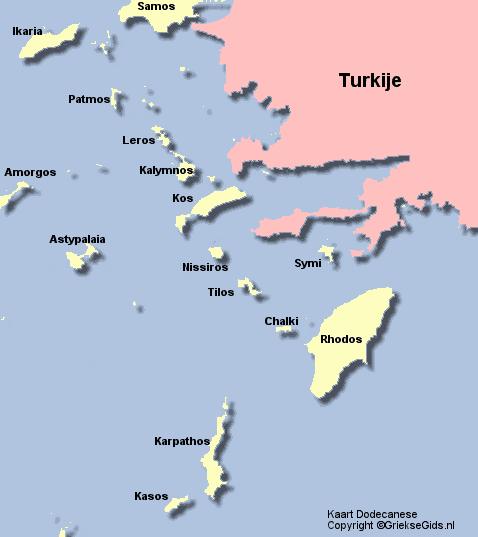 De kaart van de Dodecanese
