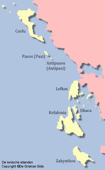 De kaart van de Ionische eilanden