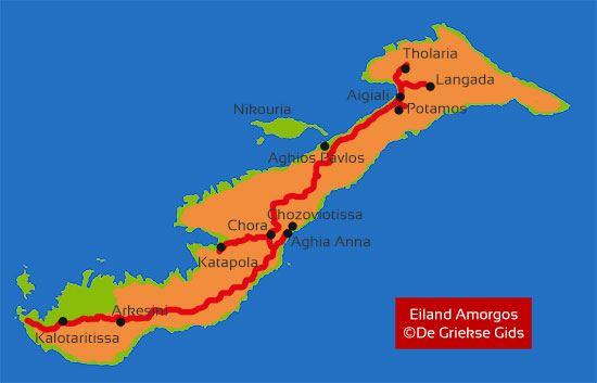 Kaart landkaart Amorgos