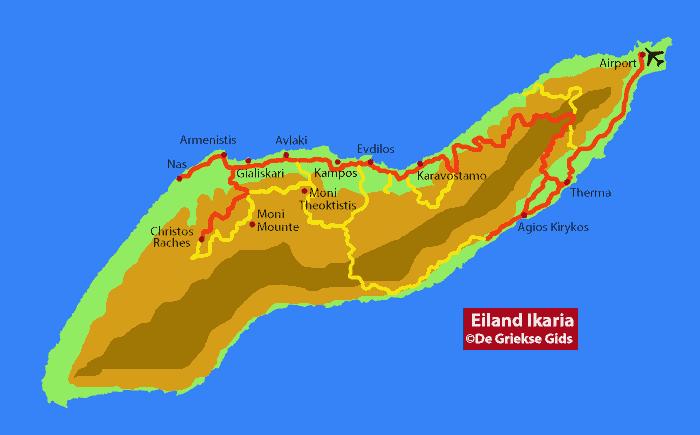 Landkaart / Plattegrond Ikaria