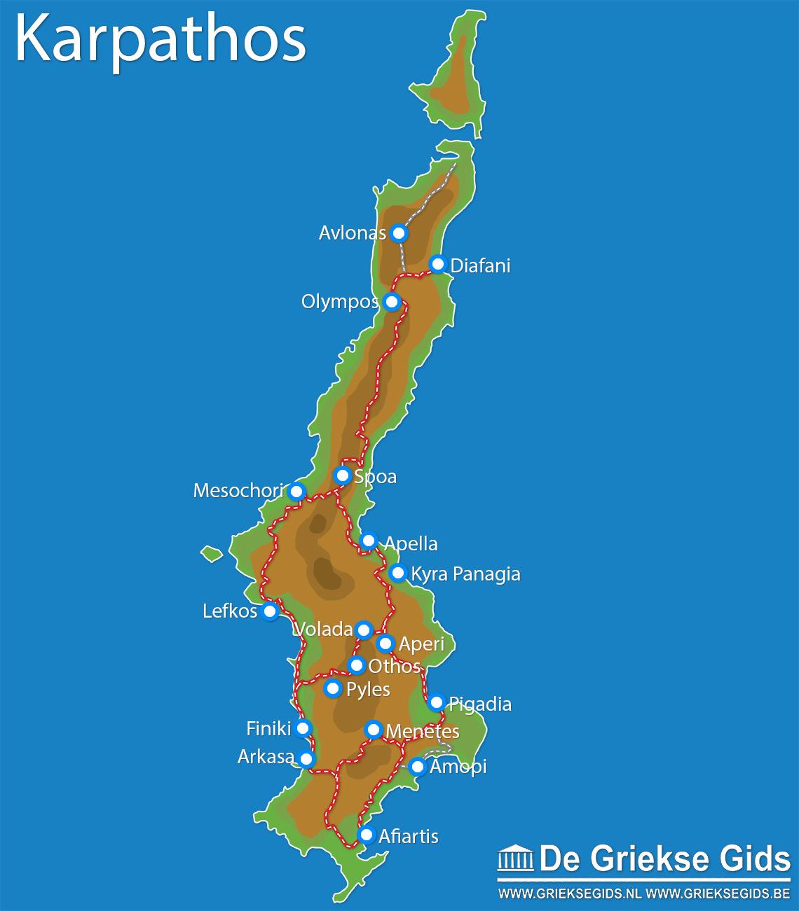 Kaart - Landkaart Karpathos