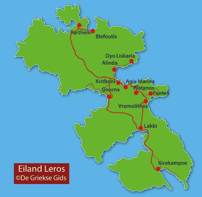 De interactive landkaart van Leros