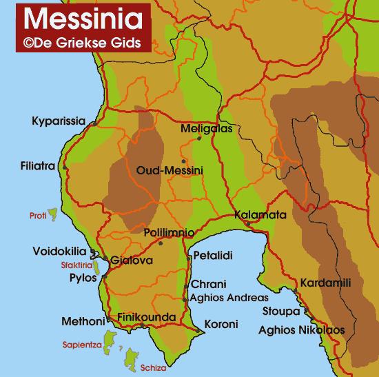 De kaart - Landkaart van Messinia