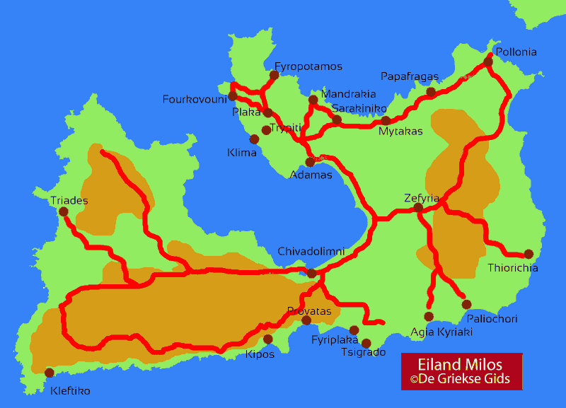 Landkaart / Plattegrond Milos
