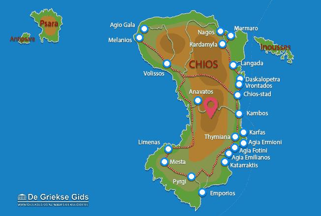 Uitstapjes / Trips vanaf Kaart - Landkaart Chios