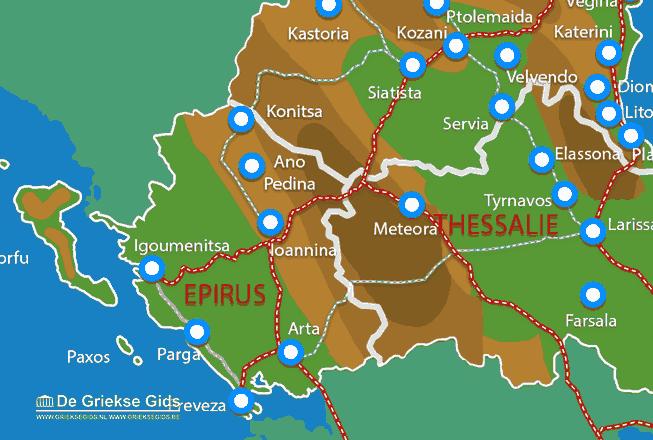 Uitstapjes / Trips vanaf Kaart - Landkaart Epirus