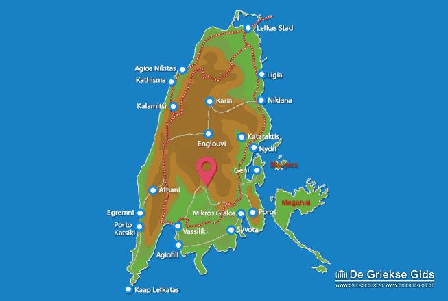 Uitstapjes / Trips vanaf Kaart - Landkaart Lefkas