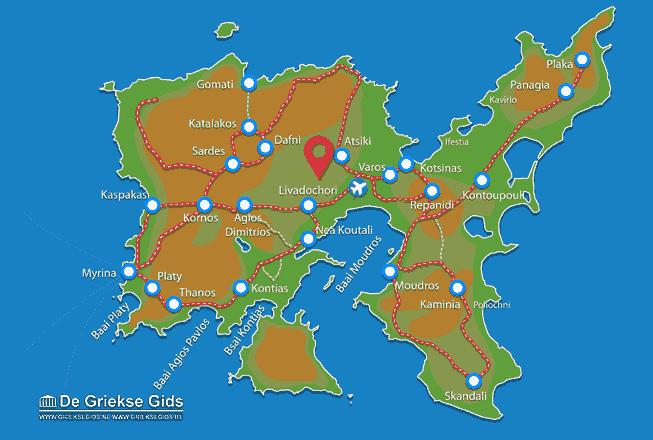 Uitstapjes / Trips vanaf Kaart - Landkaart Limnos