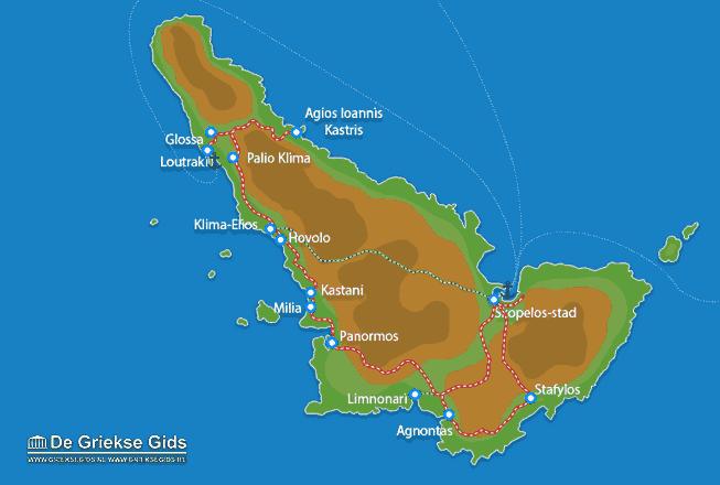 Uitstapjes / Trips vanaf Kaart - Landkaart Skopelos