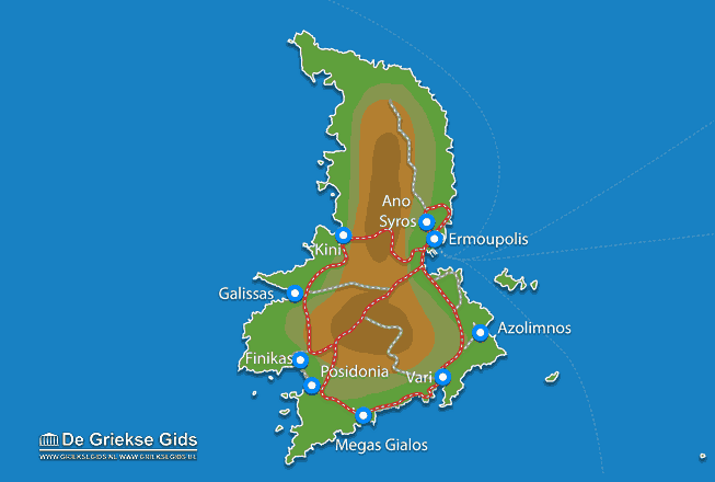 Uitstapjes / Trips vanaf Kaart - Landkaart Syros