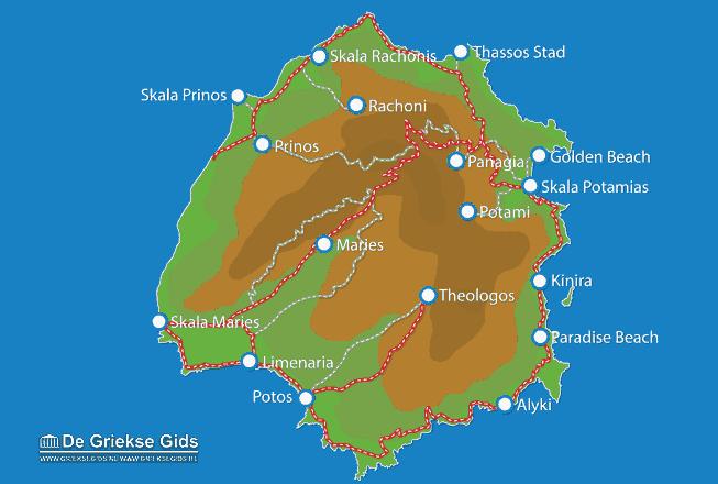 Uitstapjes / Trips vanaf Kaart - Landkaart Thassos