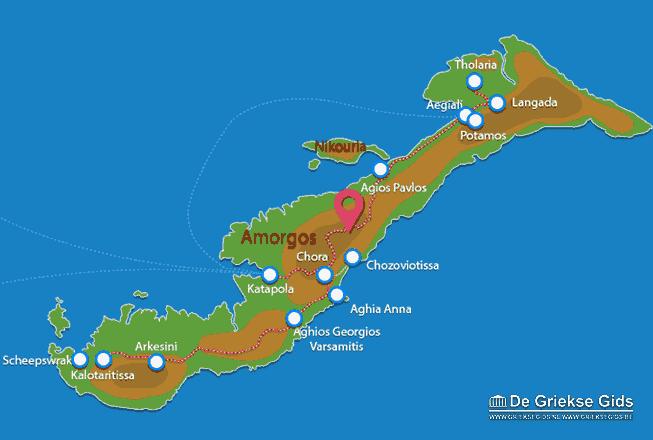 Uitstapjes / Trips vanaf Landkaart Amorgos