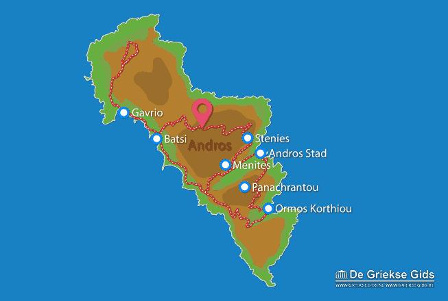 Uitstapjes / Trips vanaf Kaart - Landkaart Andros