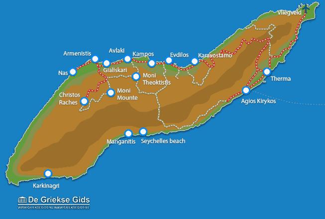 Uitstapjes / Trips vanaf Landkaart Ikaria