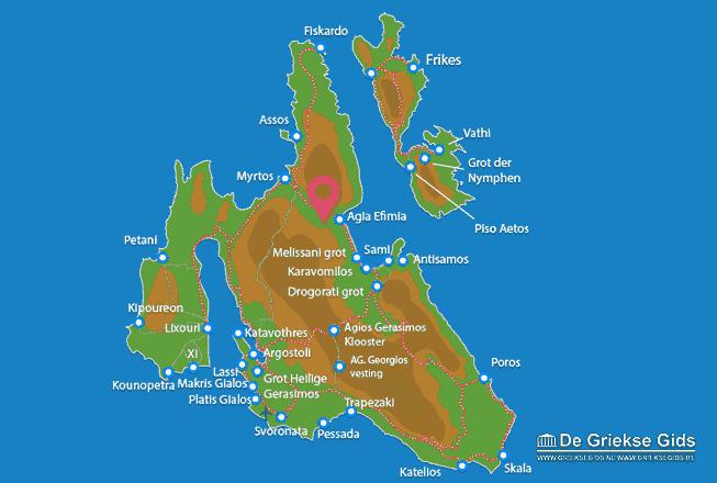 Uitstapjes / Trips vanaf Kaart - Landkaart Kefalonia