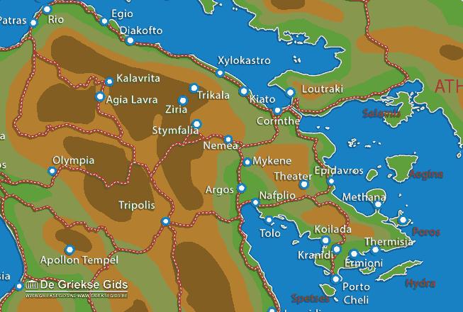 Uitstapjes / Trips vanaf Landkaart Korinthia