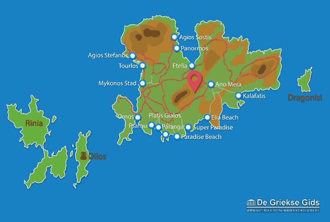 Uitstapjes / Trips vanaf Kaart - Landkaart Mykonos