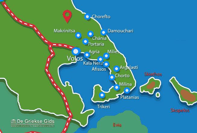 Uitstapjes / Trips vanaf Landkaart Pilion