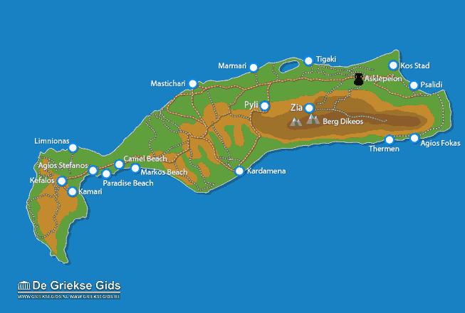 Uitstapjes / Trips vanaf Kaart - Landkaart Kos