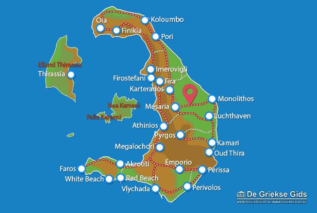 Uitstapjes / Trips vanaf Kaart - Landkaart Santorini