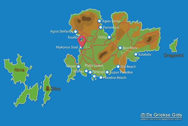 Waar ligt Mykonos