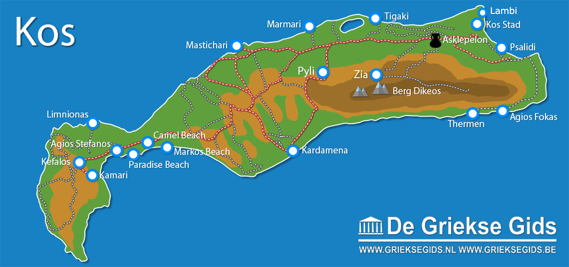 De kaart van Kos - Landkaart Kos