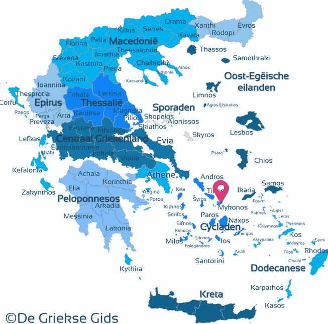Waar ligt Eilandhoppen Athene, Andros & Mykonos?