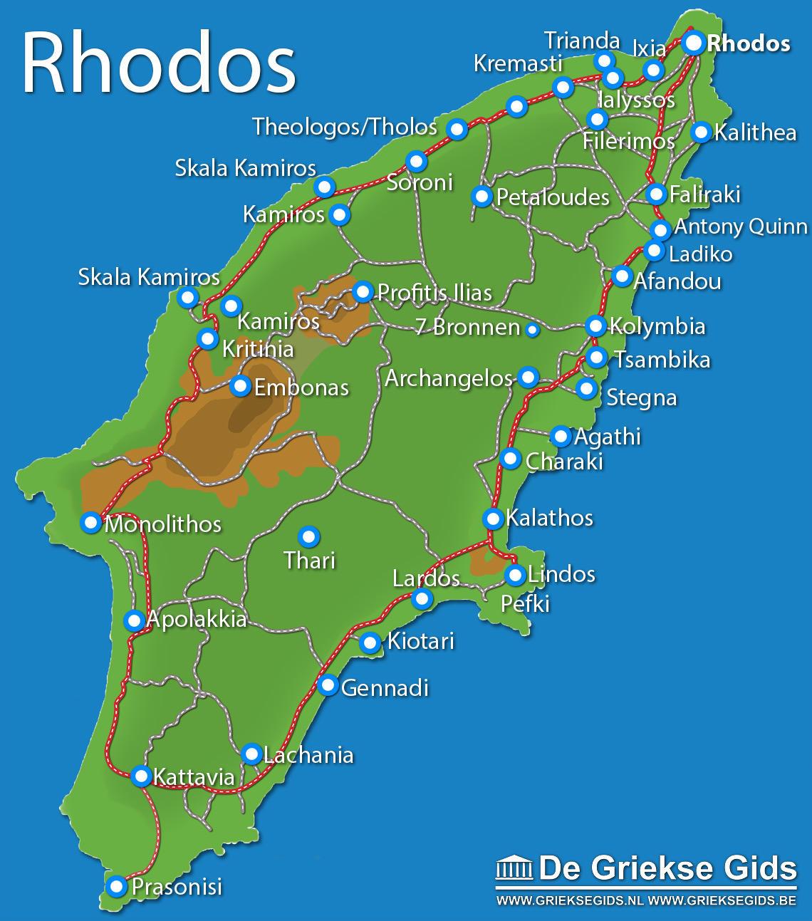 Kaart Rhodos