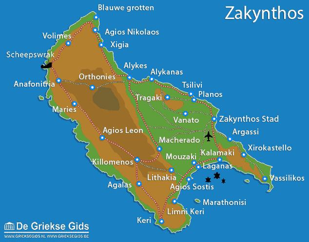 Plattegrond- landkaart - Kaart Zakynthos
