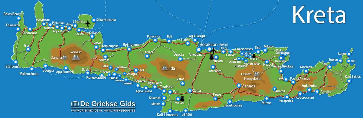 Kaart Kreta - Plattegrond Kreta