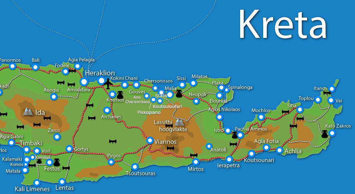 Kaart van Oost-Kreta