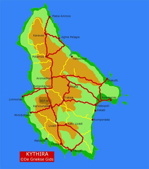 De kaart - Landkaart van Kythira