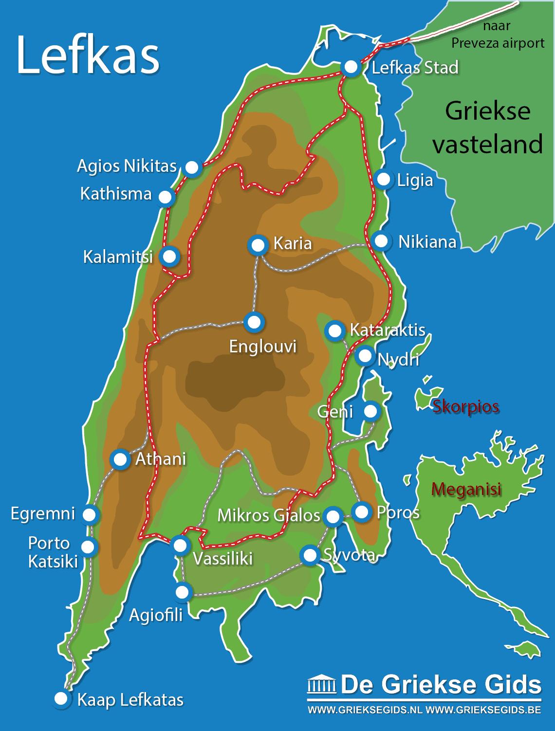 Kaart Lefkas - Landkaart Lefkas