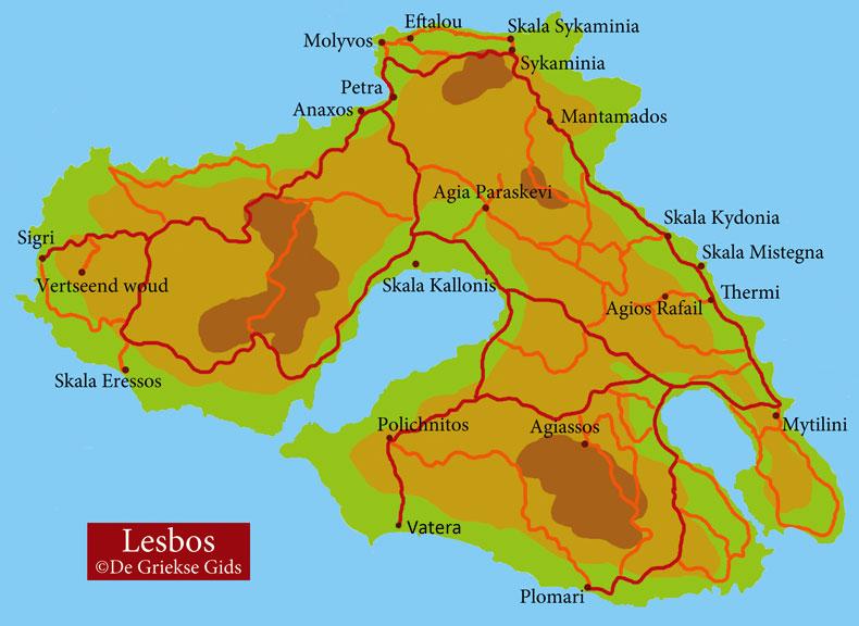 Lesbos kaart - Plattegrond