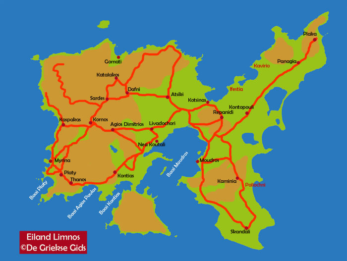 Limnos landkaart - kaart - plattegrond