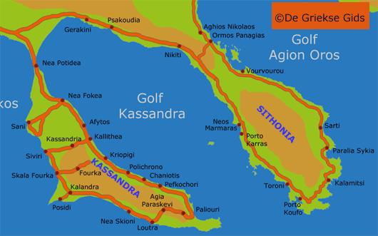 Kaart Sithonia en Kassandra