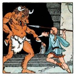 Theseus verslaat de minotaurus