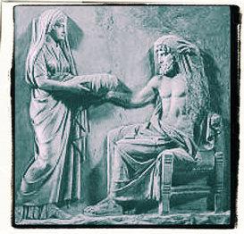 Rhea geeft Cronus een steen