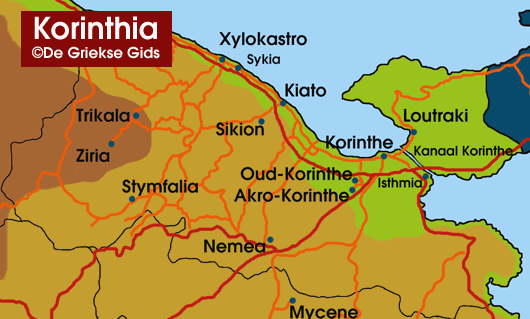 Landkaart / Plattegrond Korinthia