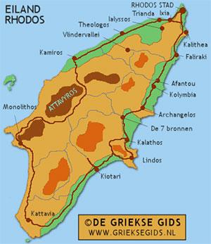 De interactieve kaart van Rhodos