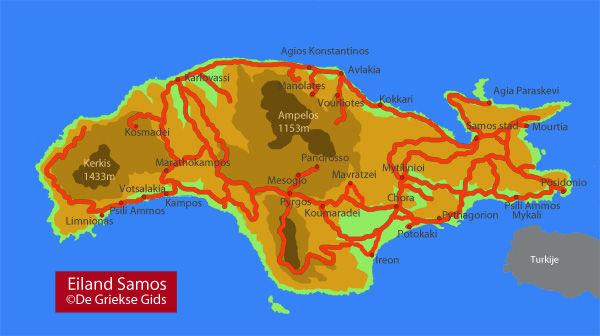 De interactive landkaart van Samos