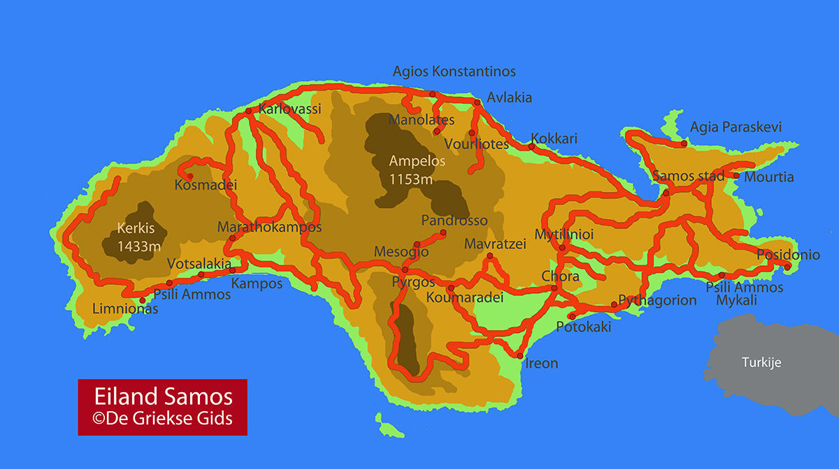 Kaart Samos - Plattegrond Samos