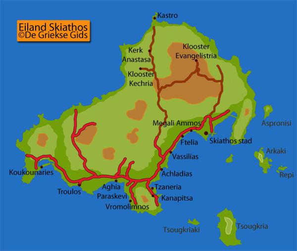 De kaart / landkaart van Skiathos